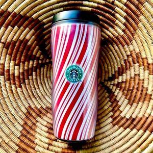 STARBUCKS Candy Cane Striped red white travel mug